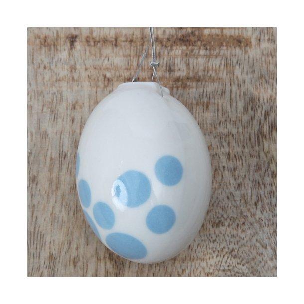 Helle Gram - Keramik håndlavet påskeæg, lyseblå