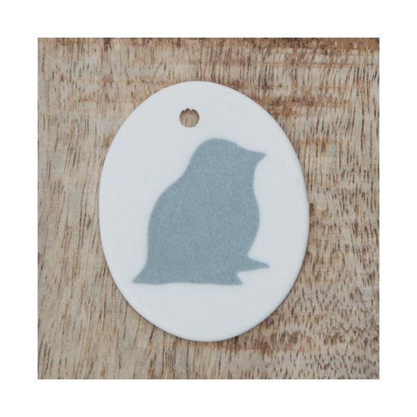 Helle Gram - Keramik ophæng med fuglemotiv, blå