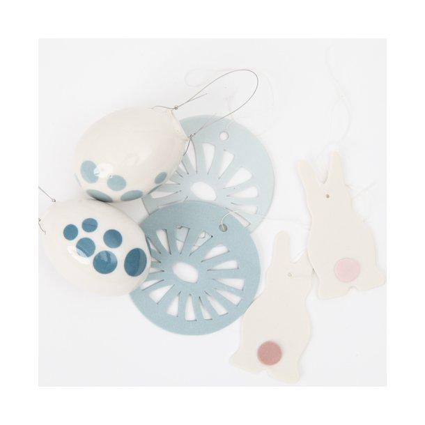 Helle Gram - Keramik håndlavet påskesæt, blå / rosa