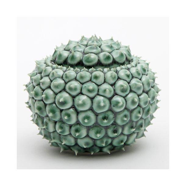 Henriette Duckert - Keramik håndlavet pigget lågkrukke mørkegrøn, lille