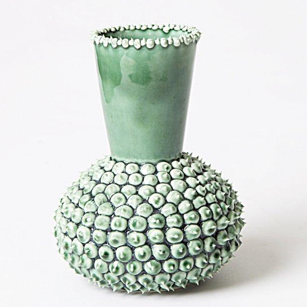 Henriette Duckert - Keramik håndlavet pigget vase, stor mørkegrøn