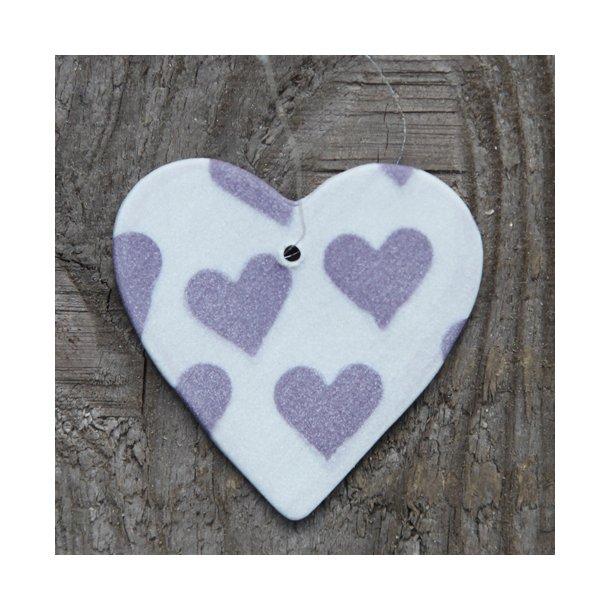 Helle Gram - Keramik håndlavet farvet hjerte med hjerter, (lilla)