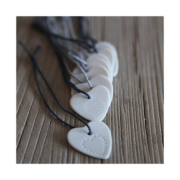 Priip - Keramik håndlavet julehjerte mini, hvid