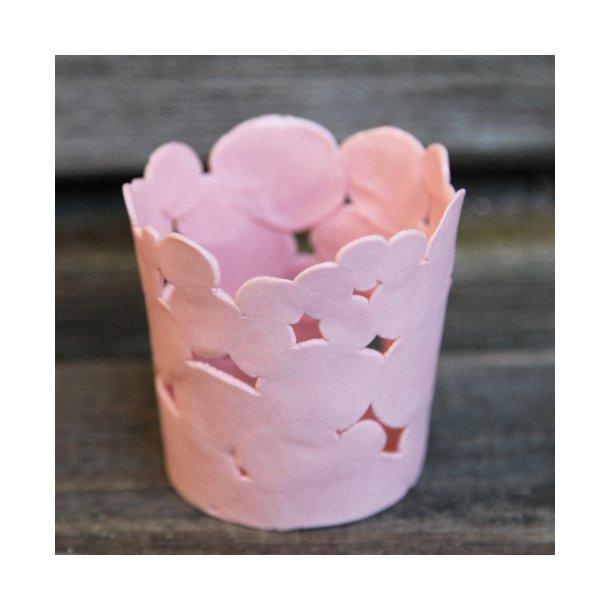 Jeanette Hiiri - Keramik håndlavet fyrfadsstage Winter, lyserød