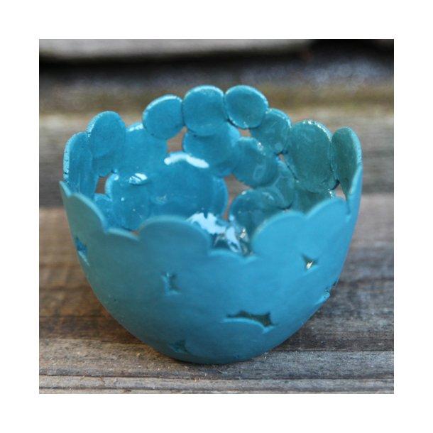 Jeanette Hiiri - Keramik håndlavet fyrfadsstage Winter (rund), mørkeblå