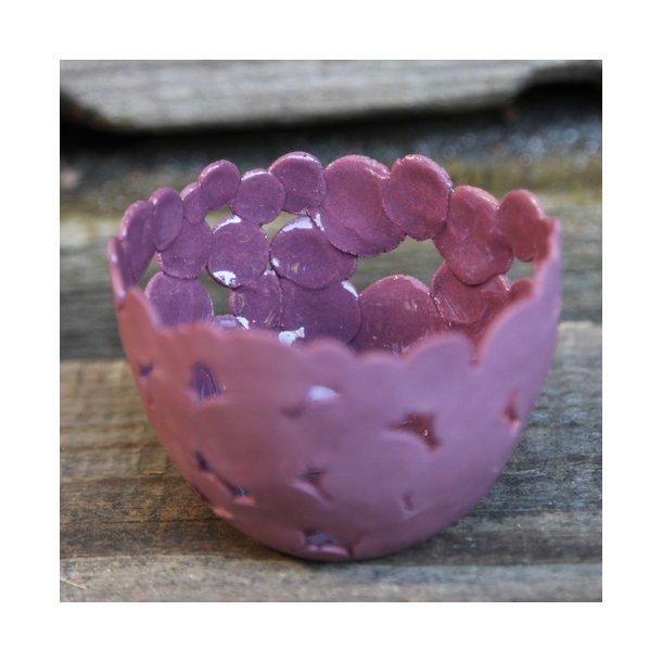 Jeanette Hiiri - Keramik håndlavet fyrfadsstage Winter, bordeaux