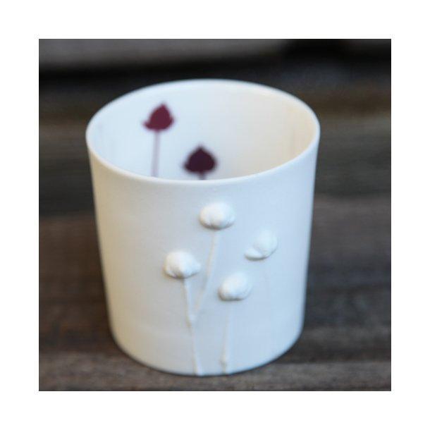 Jeanette Hiiri - Keramik fyrfadsstage valmue, brun og mørkerød