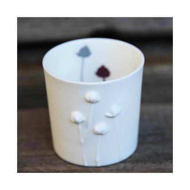 Jeanette Hiiri - Keramik fyrfadsstage valmue, grå og mørkerød