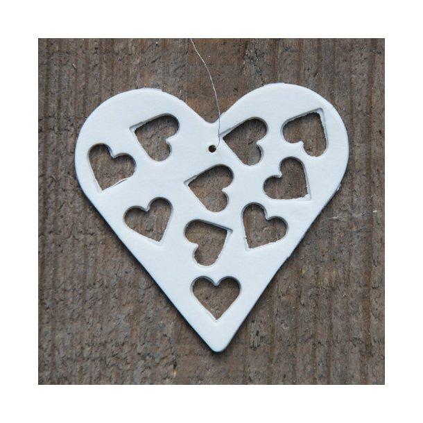 Helle Gram - Keramik håndlavet hjerte med hjerter (hvid)