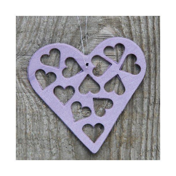 Helle Gram - Keramik håndlavet hjerte med hjerter (lilla)