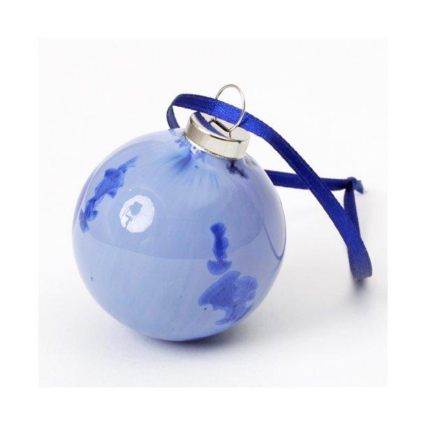 Wauw design - Keramik håndlavet julepynt julekugle, blå krystal