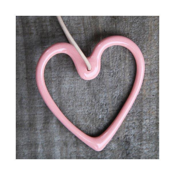 Priip - Keramik håndlavet julehjerte i lys koral (rosa)