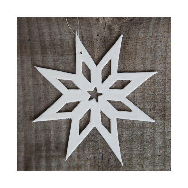 Helle Gram - Keramik julepynt, håndlavede julestjerner i hvid, 2 stk