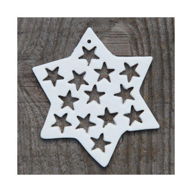 Helle Gram - Keramik julepynt håndlavet stjerne med stjerner (hvid)