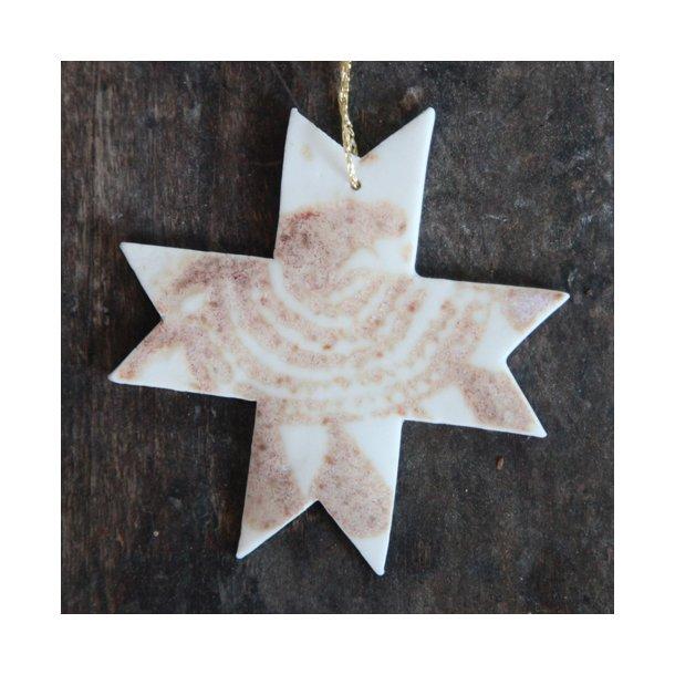 Helene Søs Schjødts - Keramik håndlavet julestjerne stjernemønster, rosa/brun