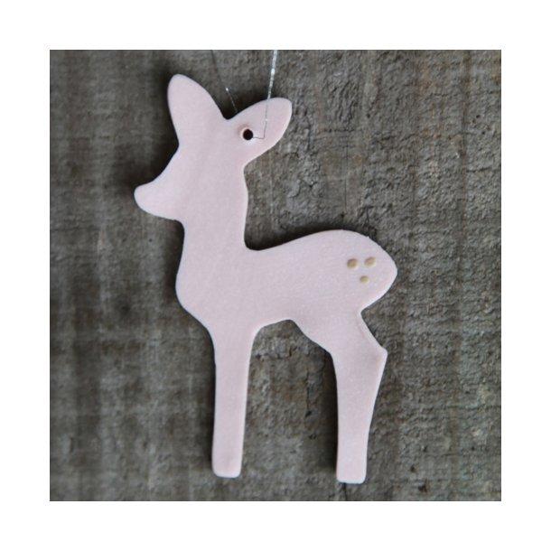 Helle Gram - Keramik håndlavet bambi (lyserød)