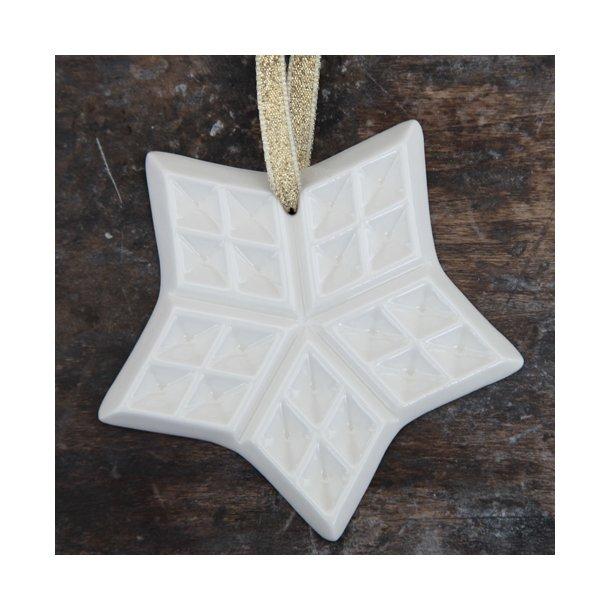 Helle Grej - Keramik håndlavet julepynt, vaffelstjerne stor, hvid