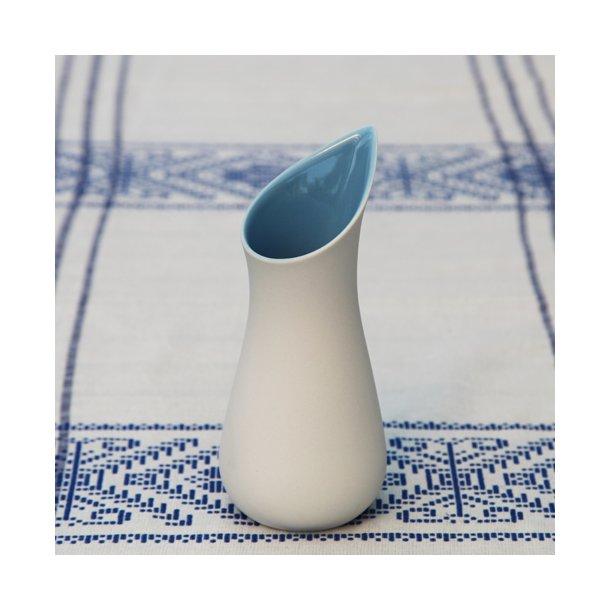 Ditte Fischer - Keramik håndlavet mælkekande, hvid og himmelblå