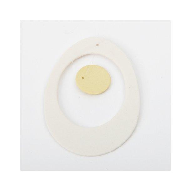 Esther Elisabeth Pedersen - Keramik æg i blomme, hvid og gul