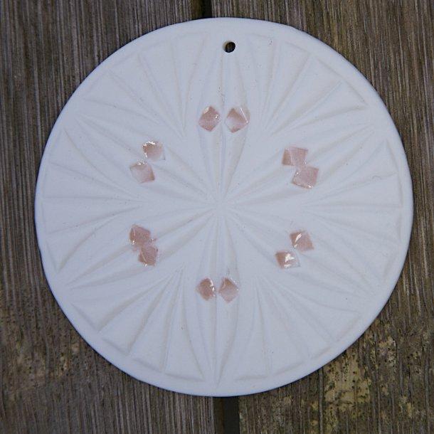 Jeanette Hiiri - Keramik håndlavet rundt juleophæng med mønster, hvid no2