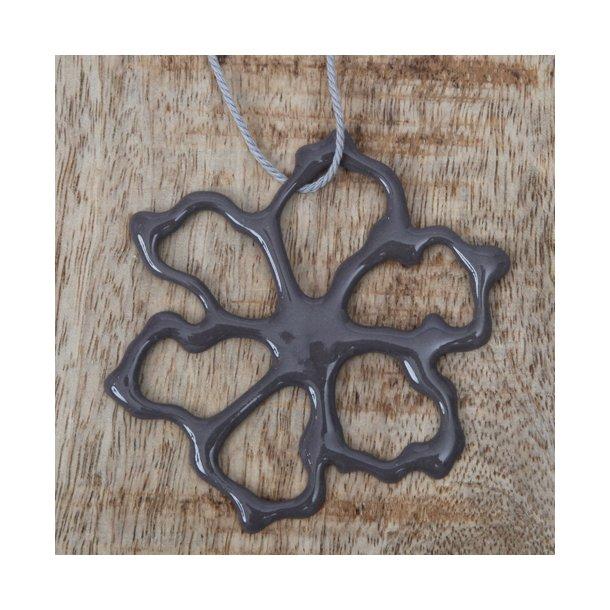 Priip - Keramik håndtegnet blomst, koksgrå