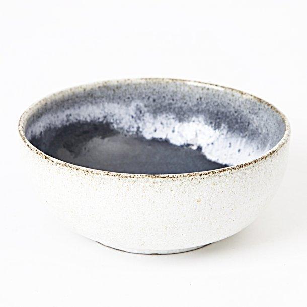 Tasja P. ceramics - Keramik håndlavet skål / morgenmadsskål, off white og mørkeblå