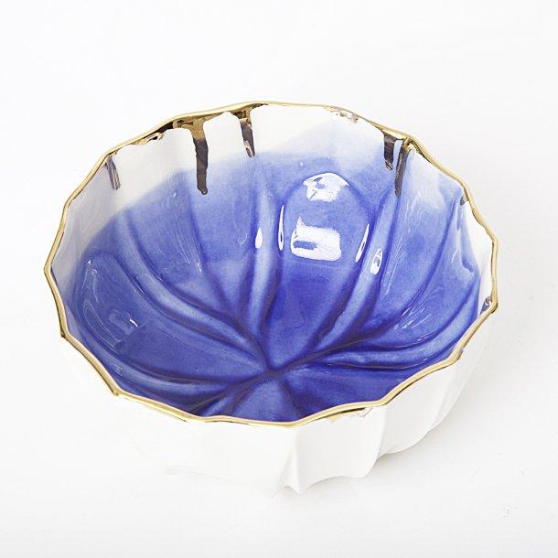 Meadow Ceramics - Keramik håndlavet skål, blå mønster med guldkant