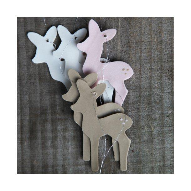 Helle Gram - Keramik håndlavet bambi, 5 stk