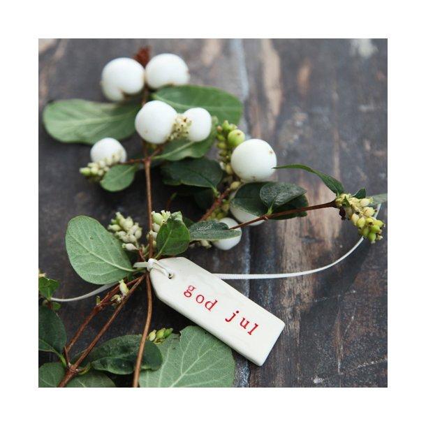 Paper boat press - Keramik håndlavet word tag, god jul, RØD skrift