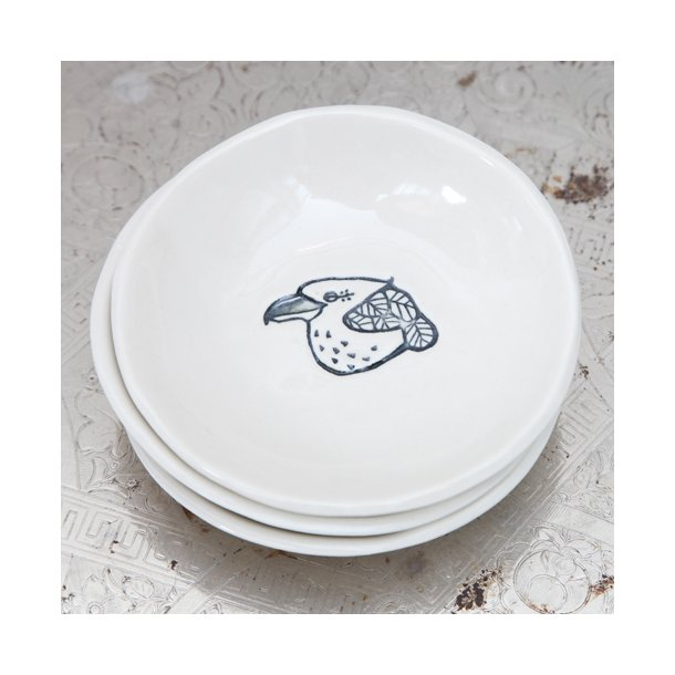 Kim Wallace - Keramik skål, littlies med kookaburra illustration