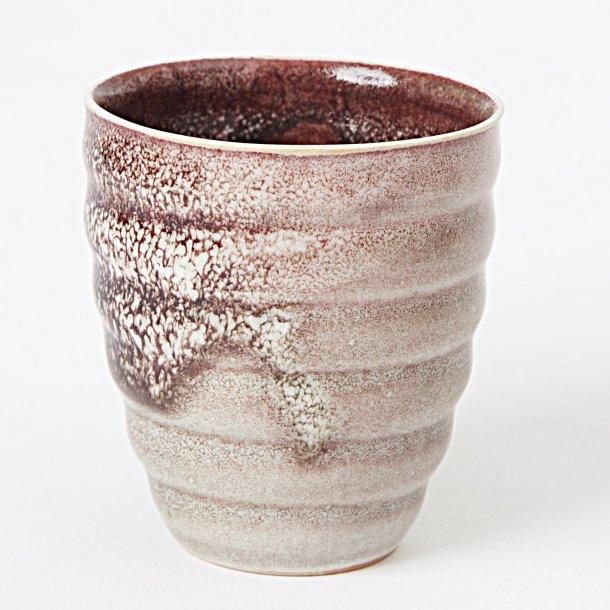 Hanne Bertelsen - Keramik Rille kop, grå med rød