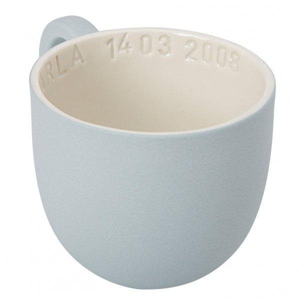 Helle Gram - Keramik håndlavet kop med navn, chubby lille, valgfri farve