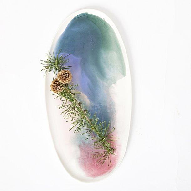 Meadow Ceramics - Keramik håndlavet ovalt fad eller tallerken, vandfarve, grøn/rosa