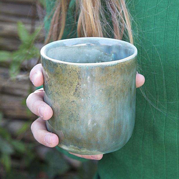 Oh Oak - Ceramic handmade mug, Nordland Latte, green, blue, browngreen