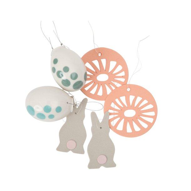 Helle Gram - Keramik håndlavet påskesæt, abrikos / grøn