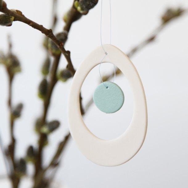 Esther Elisabeth Pedersen - Keramik æg i blomme, hvid og turkis