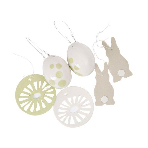 Helle Gram - Keramik håndlavet påskesæt, grøn / sand