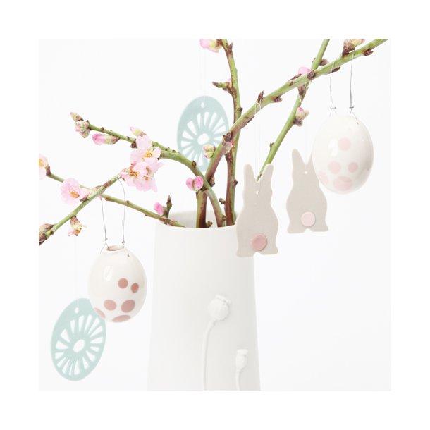 Helle Gram - Keramik håndlavet påskesæt, mint / rosa