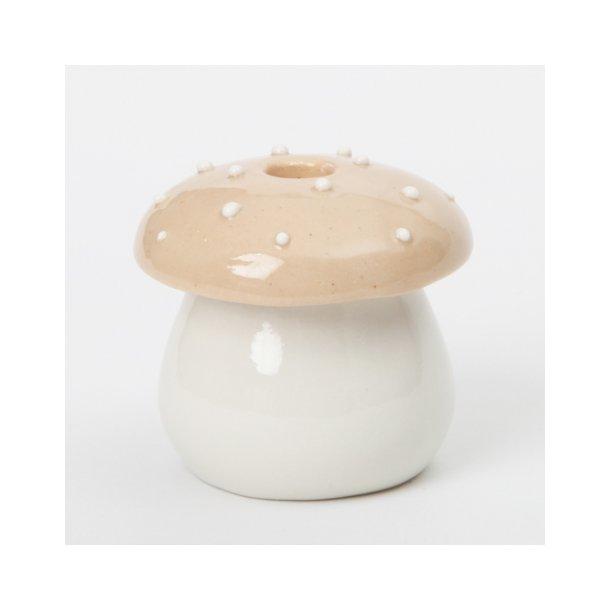 Pi Bjørg - Keramik julepynt, lysestage fluesvampestage beige