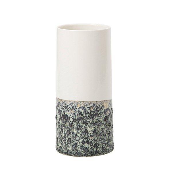 Wauw Design - Keramik håndlavet vase Sika stor, hvid/støvet grøn
