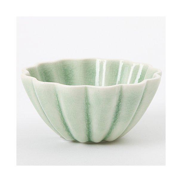 Hanne Bertelsen - Keramik håndlavet skål Rille blomst lille, grøn