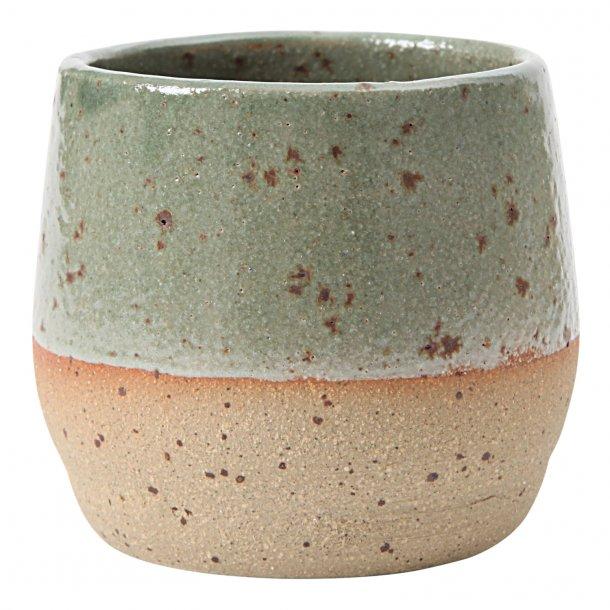 SkandiHus - Keramik håndlavet kop, green speckled espresso, grøn