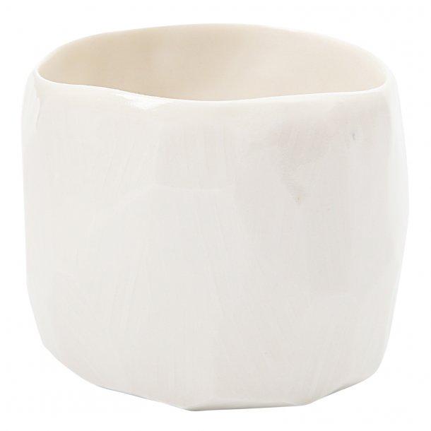 SkandiHus - Keramik håndlavet kop/potte, white diamond, hvid