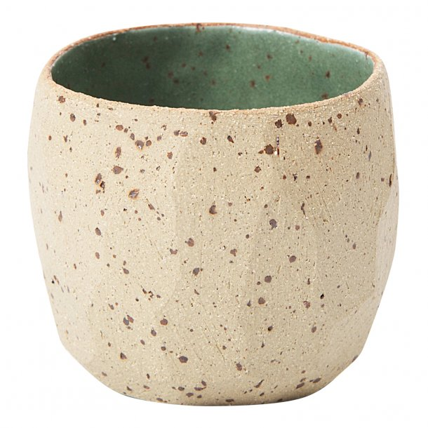 SkandiHus - Keramik håndlavet kop/potte, green speckled diamond, grøn