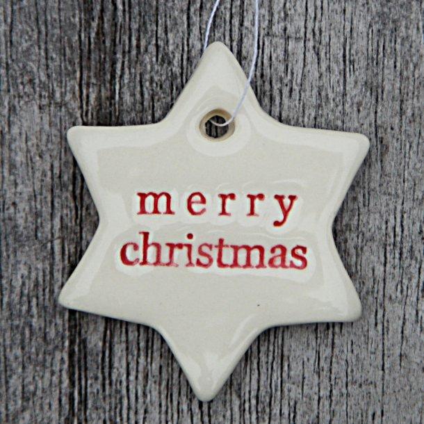 Paper boat press - Keramik håndlavet julepynt, mini stjerne Merry Christmas