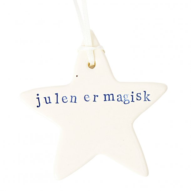 Paper boat press - Julestjerne med ord, julen er magisk, blå skrift