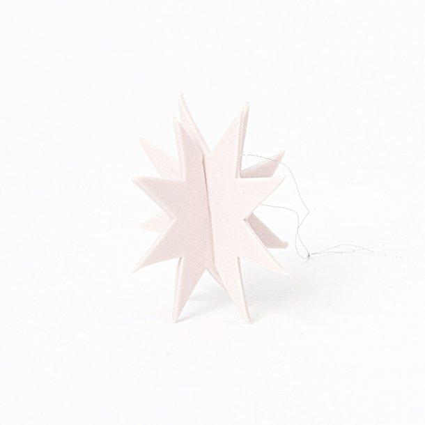 Helle Gram - Keramik julepynt, julestjerne Gemini i svag lyserød, 2 stk