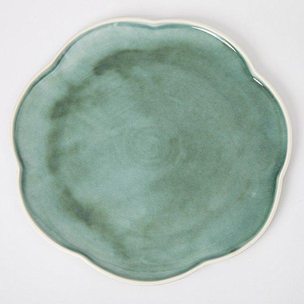 Hanne Bertelsen - Keramik håndlavet middagstallerken, blomst, mørk grøn