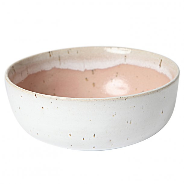 Tasja P. ceramics - Keramik håndlavet skål / morgenmadsskål, hvid og dusty rose