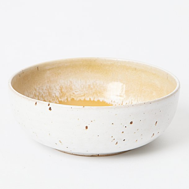 Tasja P. ceramics - Ceramic handmade bowl / breakfast bowl, white and yellow